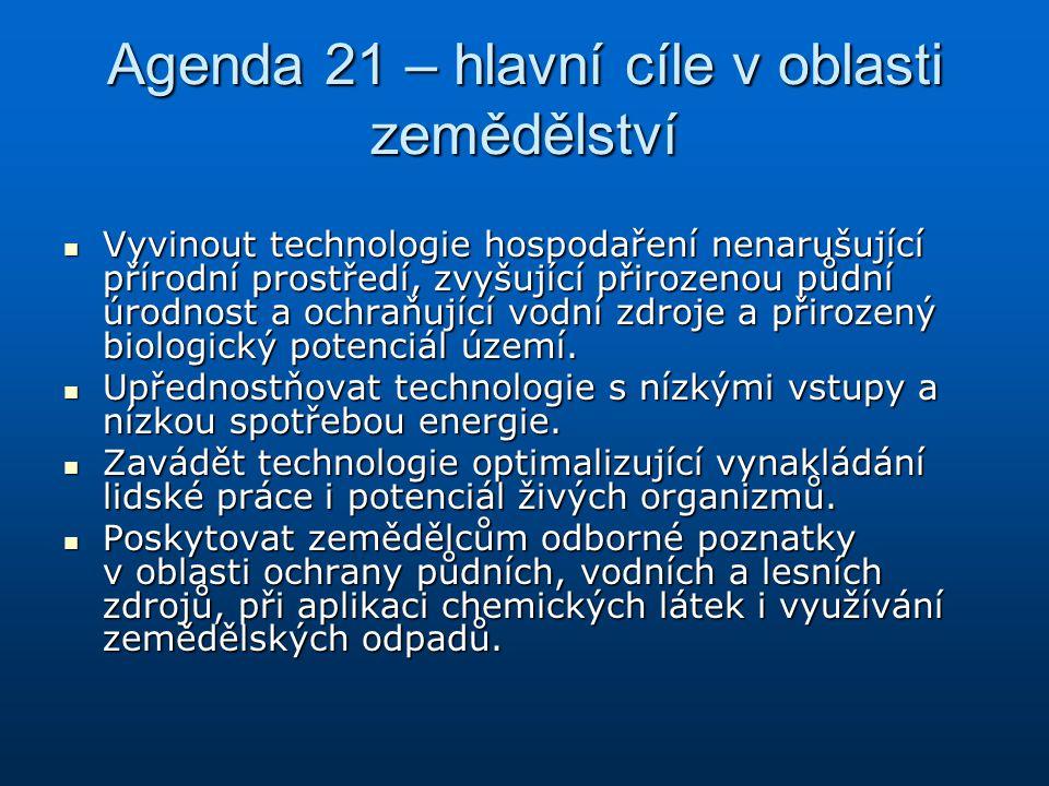 Agenda 21 – hlavní cíle v oblasti zemědělství Vyvinout technologie hospodaření nenarušující přírodní prostředí, zvyšující přirozenou půdní úrodnost a