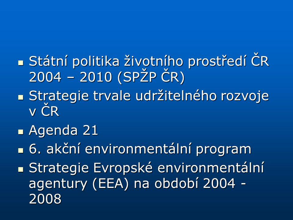 Státní politika životního prostředí ČR 2004 – 2010 (SPŽP ČR) Státní politika životního prostředí ČR 2004 – 2010 (SPŽP ČR) Strategie trvale udržitelnéh