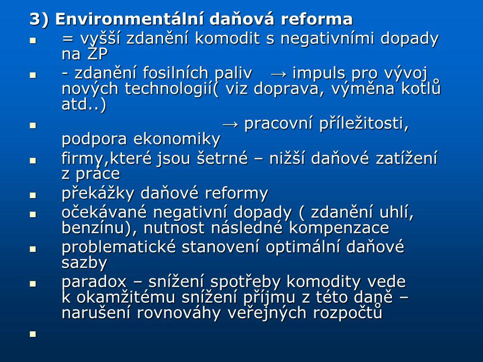 3) Environmentální daňová reforma = vyšší zdanění komodit s negativními dopady na ŽP = vyšší zdanění komodit s negativními dopady na ŽP - zdanění fosi