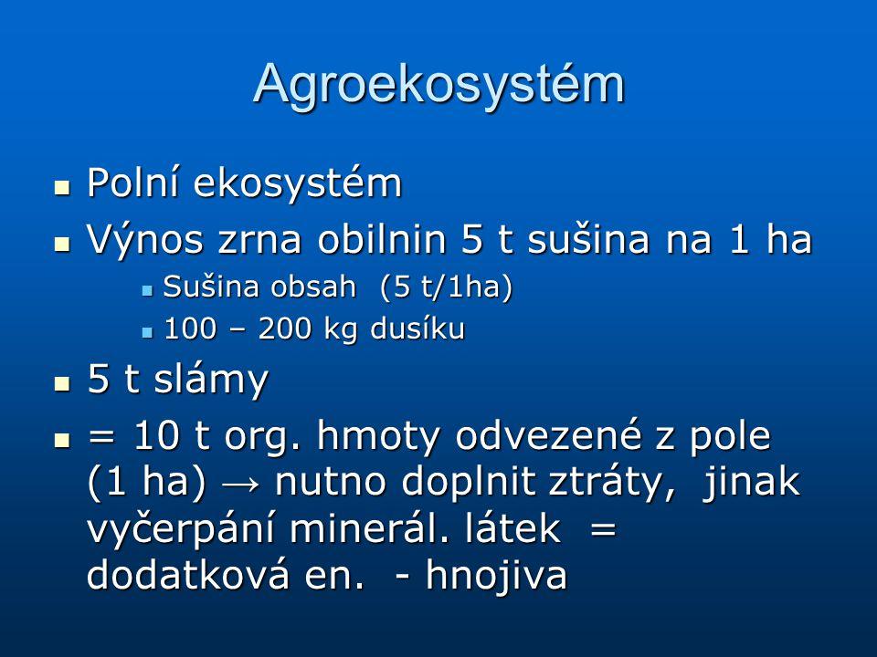 Agroekosystém Polní ekosystém Polní ekosystém Výnos zrna obilnin 5 t sušina na 1 ha Výnos zrna obilnin 5 t sušina na 1 ha Sušina obsah (5 t/1ha) Sušin