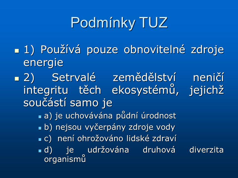 Podmínky TUZ 1) Používá pouze obnovitelné zdroje energie 1) Používá pouze obnovitelné zdroje energie 2) Setrvalé zemědělství neničí integritu těch eko