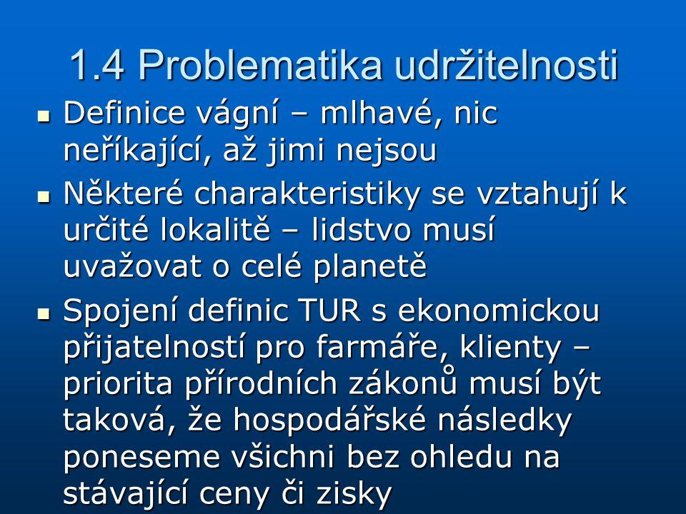 1.4 Problematika udržitelnosti Definice vágní – mlhavé, nic neříkající, až jimi nejsou Definice vágní – mlhavé, nic neříkající, až jimi nejsou Některé