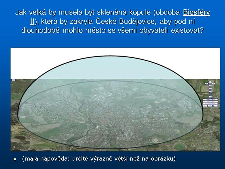 Jak velká by musela být skleněná kopule (obdoba Biosféry II), která by zakryla České Budějovice, aby pod ní dlouhodobě mohlo město se všemi obyvateli