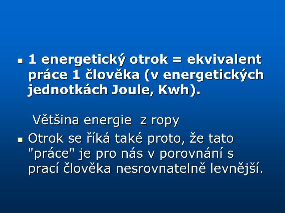 1 energetický otrok = ekvivalent práce 1 člověka (v energetických jednotkách Joule, Kwh). Většina energie z ropy 1 energetický otrok = ekvivalent prác