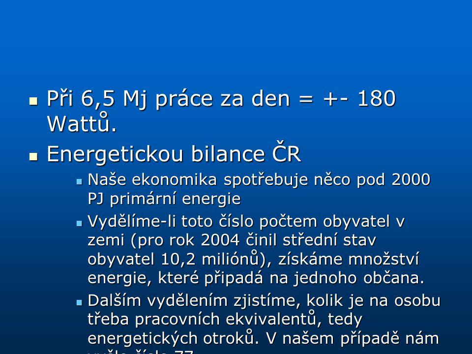 Při 6,5 Mj práce za den = +- 180 Wattů. Při 6,5 Mj práce za den = +- 180 Wattů. Energetickou bilance ČR Energetickou bilance ČR Naše ekonomika spotřeb