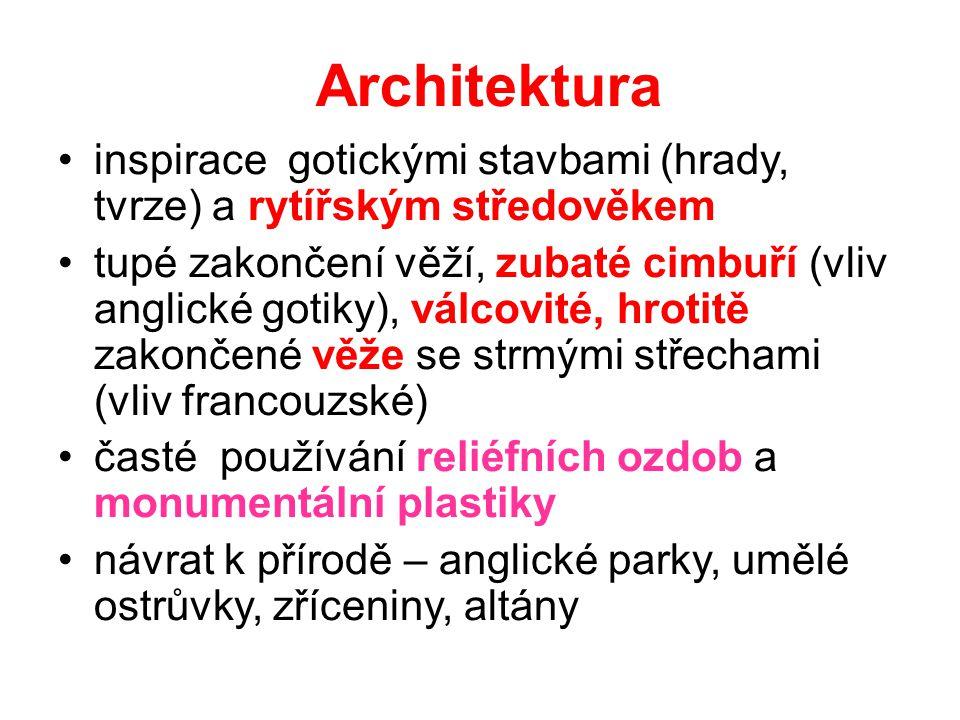 Architektura inspirace gotickými stavbami (hrady, tvrze) a rytířským středověkem tupé zakončení věží, zubaté cimbuří (vliv anglické gotiky), válcovité