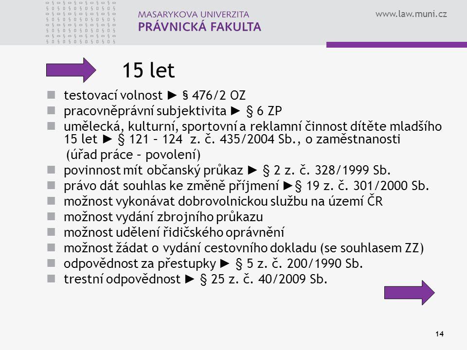 www.law.muni.cz 15 let testovací volnost ► § 476/2 OZ pracovněprávní subjektivita ► § 6 ZP umělecká, kulturní, sportovní a reklamní činnost dítěte mladšího 15 let ► § 121 – 124 z.