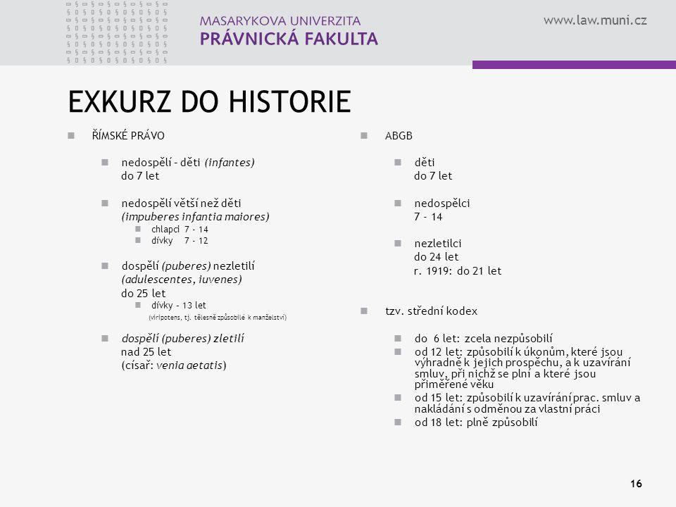 www.law.muni.cz 16 EXKURZ DO HISTORIE ŘÍMSKÉ PRÁVO nedospělí – děti (infantes) do 7 let nedospělí větší než děti (impuberes infantia maiores) chlapci