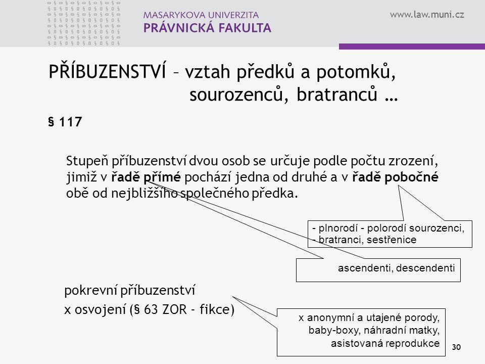 www.law.muni.cz 30 PŘÍBUZENSTVÍ – vztah předků a potomků, sourozenců, bratranců … § 117 Stupeň příbuzenství dvou osob se určuje podle počtu zrození, j