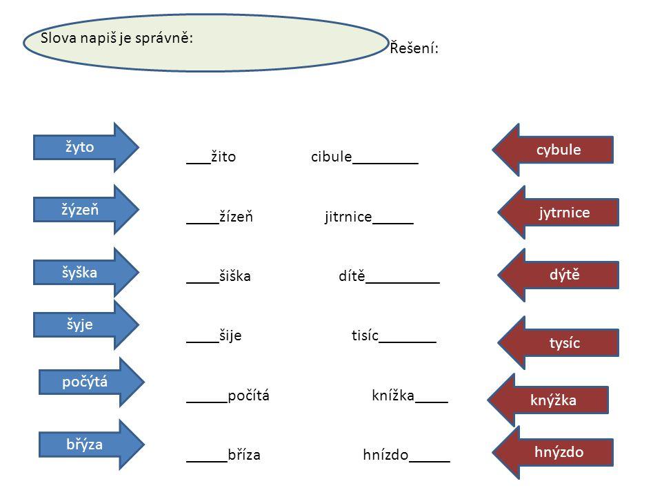 Slova napiš je správně: žyto žýzeň šyška šyje počýtá břýza cybule jytrnice dýtě tysíc knýžka hnýzdo ___žito cibule________ ____žízeň jitrnice_____ ___