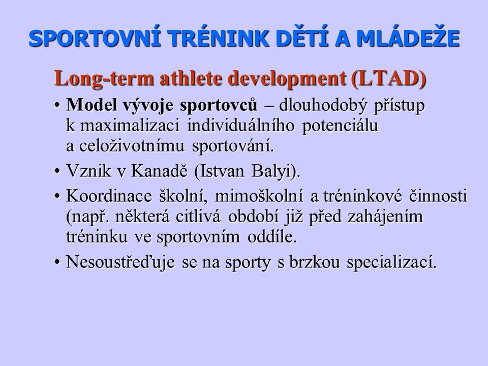 SPORTOVNÍ TRÉNINK DĚTÍ A MLÁDEŽE Long-term athlete development (LTAD) Model vývoje sportovců – dlouhodobý přístup k maximalizaci individuálního potenc