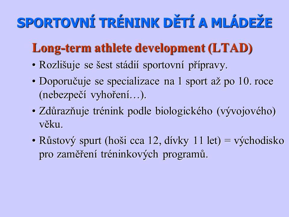 SPORTOVNÍ TRÉNINK DĚTÍ A MLÁDEŽE Long-term athlete development (LTAD) Rozlišuje se šest stádií sportovní přípravy.Rozlišuje se šest stádií sportovní p