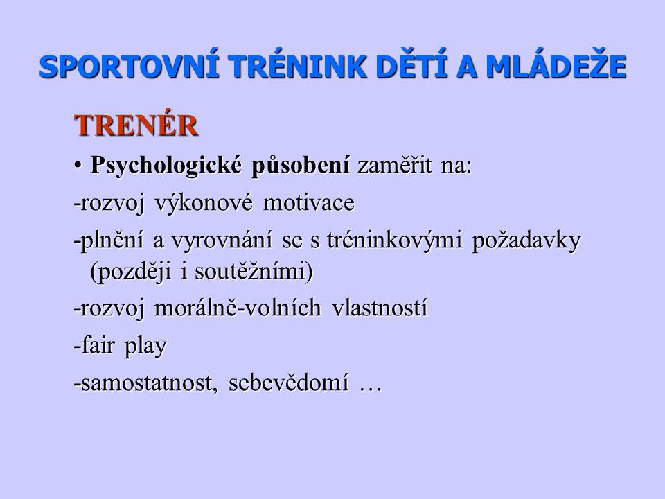 SPORTOVNÍ TRÉNINK DĚTÍ A MLÁDEŽE TRENÉR Psychologické působení zaměřit na:Psychologické působení zaměřit na: -rozvoj výkonové motivace -plnění a vyrov
