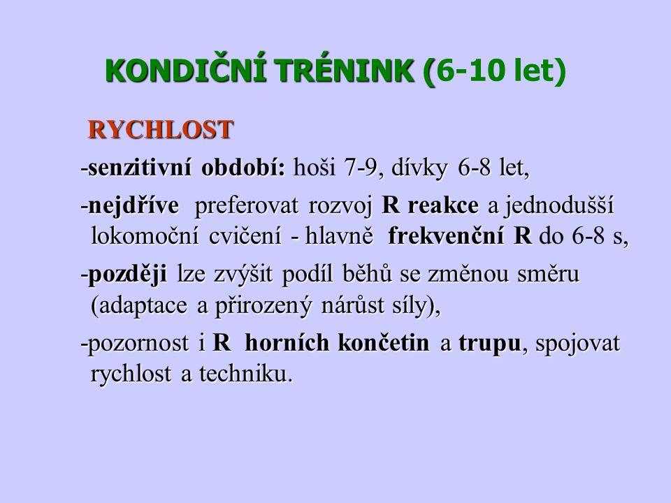 KONDIČNÍ TRÉNINK ( KONDIČNÍ TRÉNINK (6-10 let) RYCHLOST RYCHLOST -senzitivní období: 7-9, dívky 6-8 let, -senzitivní období: hoši 7-9, dívky 6-8 let,