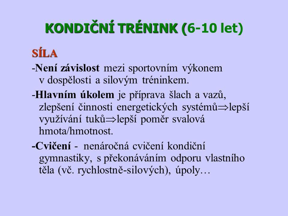 KONDIČNÍ TRÉNINK ( KONDIČNÍ TRÉNINK (6-10 let) SÍLA -Není závislost mezi sportovním výkonem v dospělosti a silovým tréninkem. -Hlavním úkolem je přípr