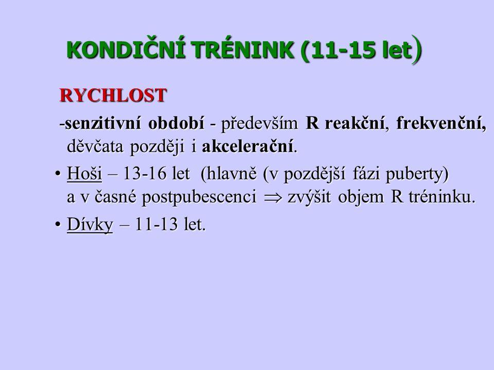 KONDIČNÍ TRÉNINK (11-15 let ) KONDIČNÍ TRÉNINK (11-15 let ) RYCHLOST RYCHLOST -senzitivní období - především R reakční, frekvenční, děvčata později i