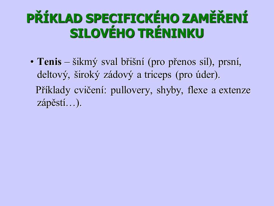 PŘÍKLAD SPECIFICKÉHO ZAMĚŘENÍ SILOVÉHO TRÉNINKU Tenis – šikmý sval břišní (pro přenos sil), prsní, deltový, široký zádový a triceps (pro úder).Tenis –
