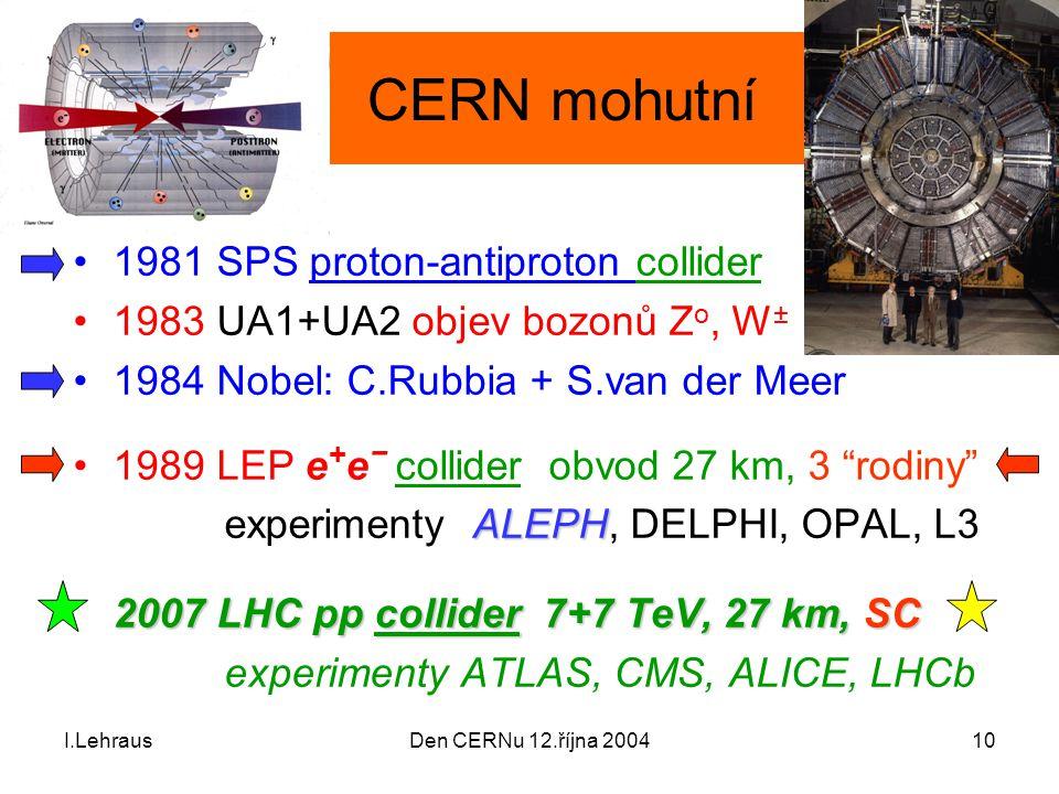 I.LehrausDen CERNu 12.října 200410 CERN mohutní 1981 SPS proton-antiproton collider 1983 UA1+UA2 objev bozonů Z o, W ± 1984 Nobel: C.Rubbia + S.van de