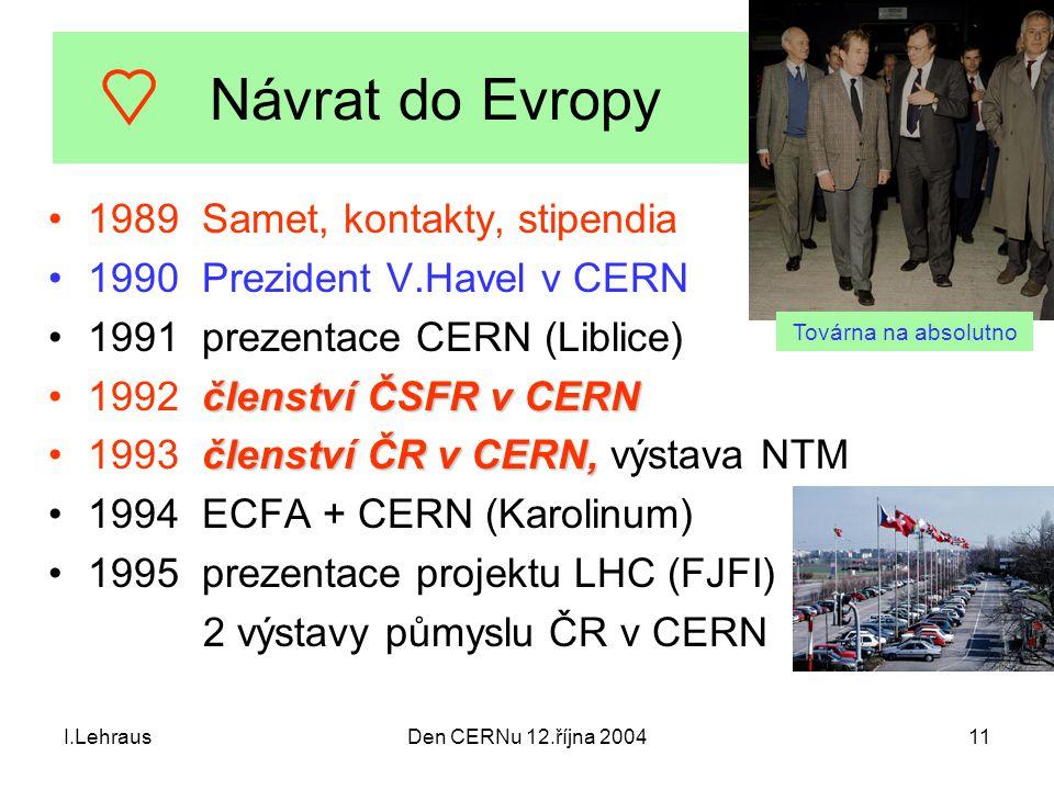 I.LehrausDen CERNu 12.října 200411 Návrat do Evropy 1989 Samet, kontakty, stipendia 1990 Prezident V.Havel v CERN 1991 prezentace CERN (Liblice) člens