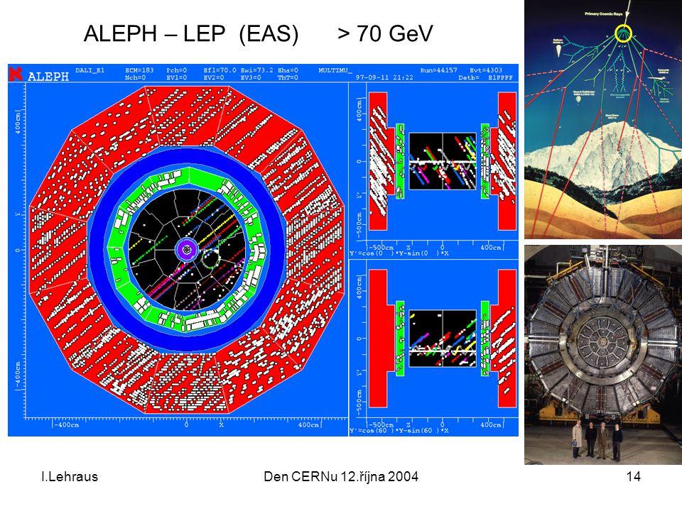 I.LehrausDen CERNu 12.října 200414 ALEPH – LEP (EAS) > 70 GeV