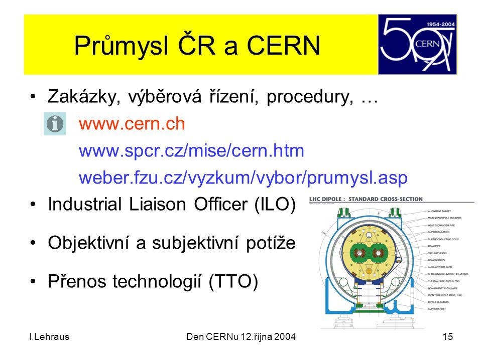 I.LehrausDen CERNu 12.října 200415 Průmysl ČR a CERN Zakázky, výběrová řízení, procedury, … www.cern.ch www.spcr.cz/mise/cern.htm weber.fzu.cz/vyzkum/