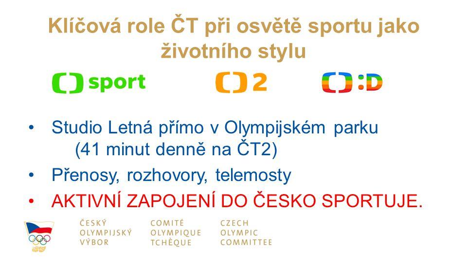 Klíčová role ČT při osvětě sportu jako životního stylu Studio Letná přímo v Olympijském parku (41 minut denně na ČT2) Přenosy, rozhovory, telemosty AKTIVNÍ ZAPOJENÍ DO ČESKO SPORTUJE.