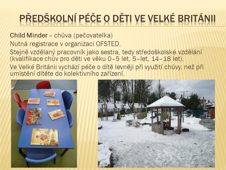 Child Minder – chůva (pečovatelka) Nutná registrace v organizaci OFSTED.