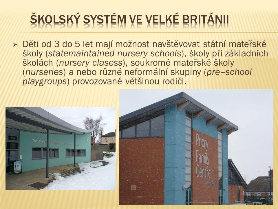  Děti od 3 do 5 let mají možnost navštěvovat státní mateřské školy (statemaintained nursery schools), školy při základních školách (nursery clasess),