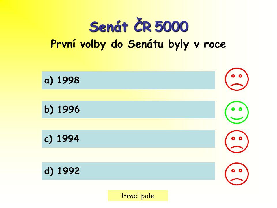 Hrací pole Senát ČR5000 Senát ČR 5000 První volby do Senátu byly v roce a) 1998 b) 1996 c) 1994 d) 1992