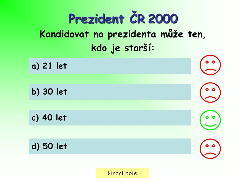 Hrací pole Prezident ČR2000 Prezident ČR 2000 Kandidovat na prezidenta může ten, kdo je starší: a) 21 let b) 30 let c) 40 let d) 50 let