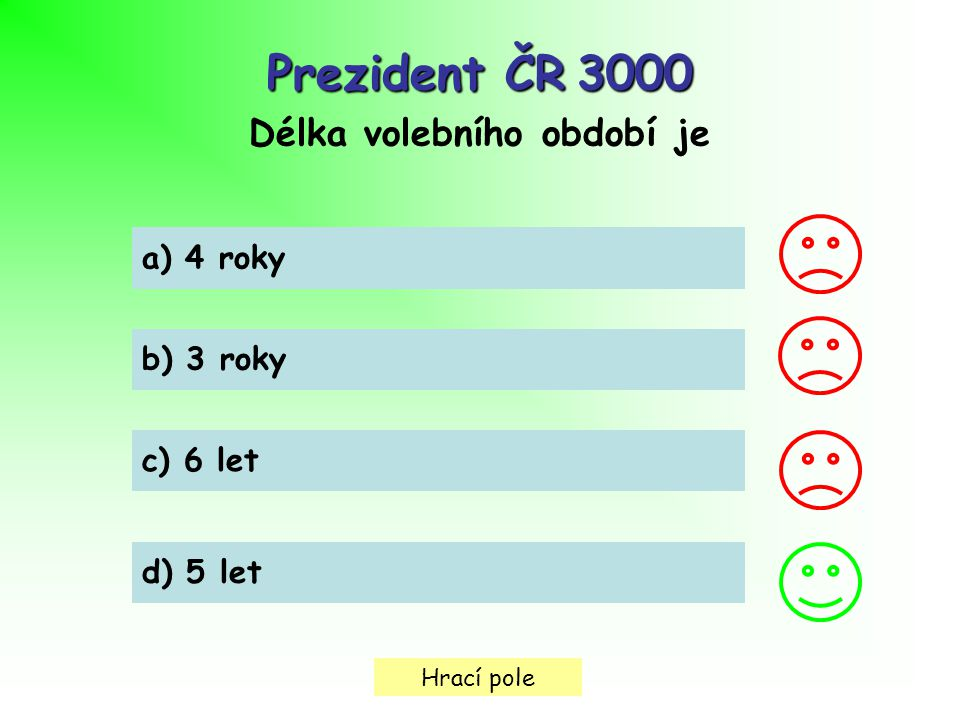 Hrací pole Prezident ČR3000 Prezident ČR 3000 Délka volebního období je a) 4 roky b) 3 roky c) 6 let d) 5 let