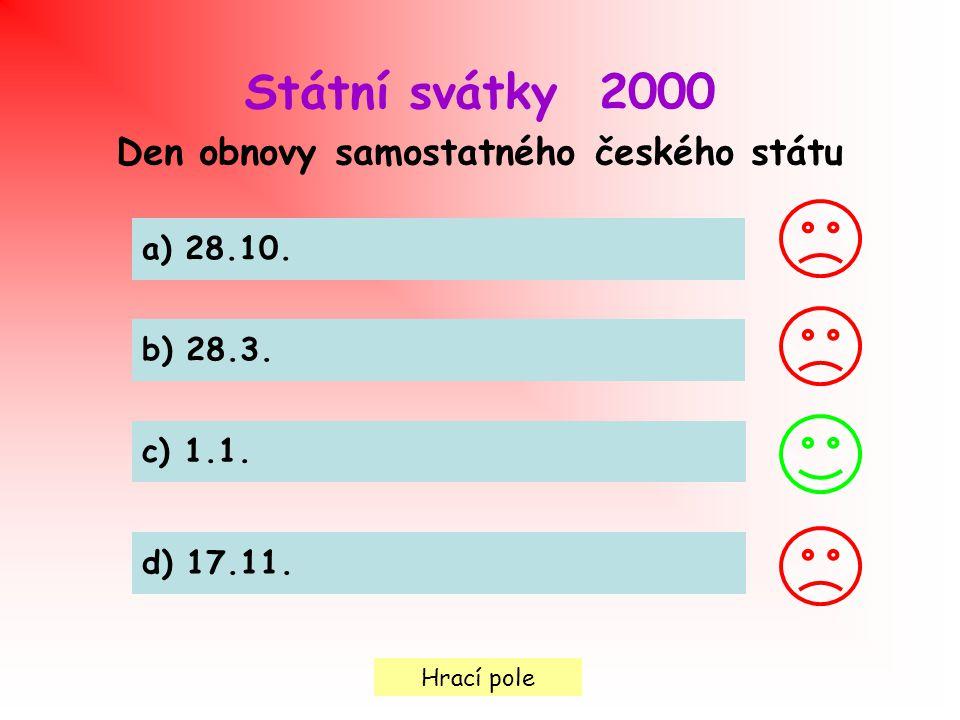 Hrací pole Státní svátky 2000 Den obnovy samostatného českého státu a) 28.10.
