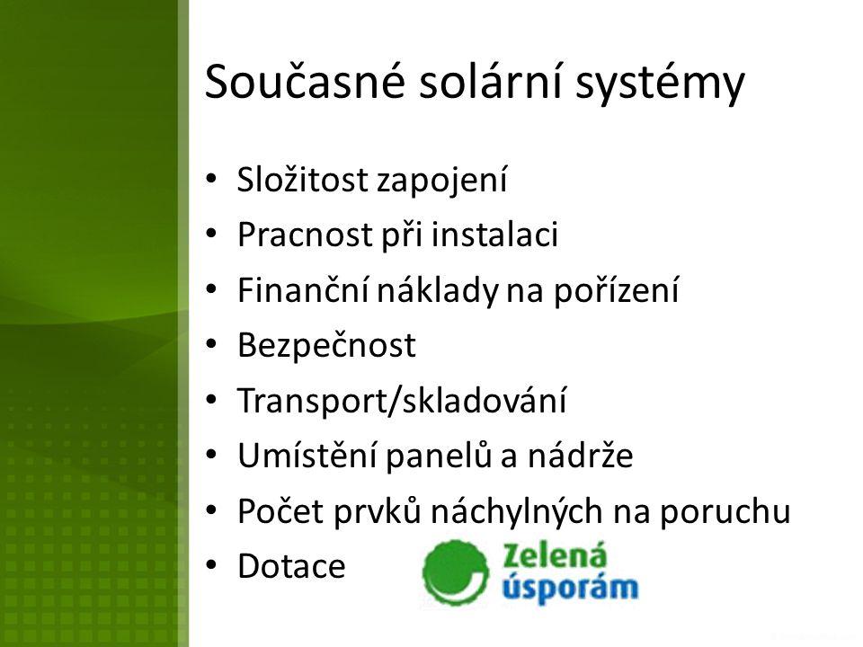 Současné solární systémy Složitost zapojení Pracnost při instalaci Finanční náklady na pořízení Bezpečnost Transport/skladování Umístění panelů a nádrže Počet prvků náchylných na poruchu Dotace
