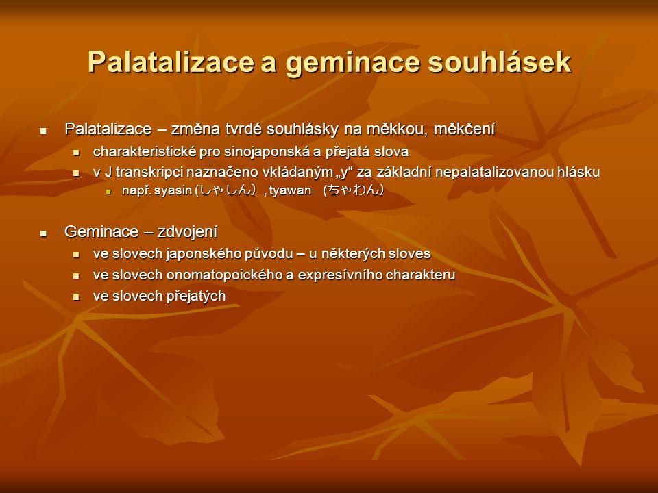 Palatalizace a geminace souhlásek Palatalizace – změna tvrdé souhlásky na měkkou, měkčení Palatalizace – změna tvrdé souhlásky na měkkou, měkčení char