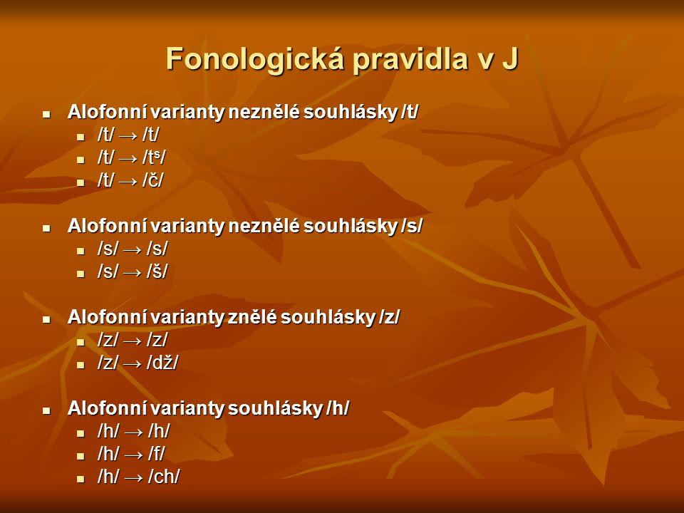 Fonologická pravidla v J Alofonní varianty neznělé souhlásky /t/ Alofonní varianty neznělé souhlásky /t/ /t/ → /t/ /t/ → /t/ /t/ → /t s / /t/ → /t s /