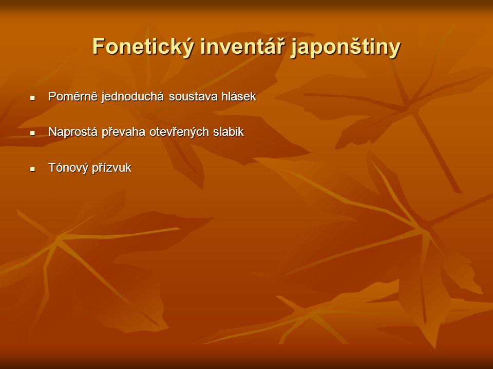 Fonetický inventář japonštiny Poměrně jednoduchá soustava hlásek Poměrně jednoduchá soustava hlásek Naprostá převaha otevřených slabik Naprostá převah
