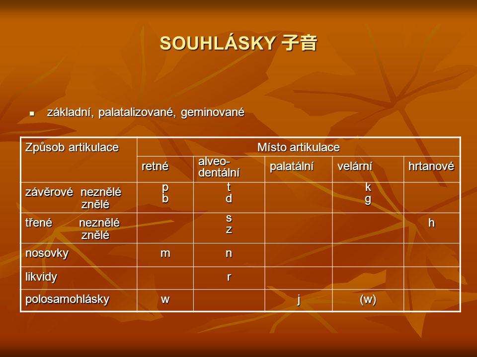 SOUHLÁSKY 子音 základní, palatalizované, geminované základní, palatalizované, geminované Způsob artikulace Místo artikulace retnéalveo-dentálnípalatální