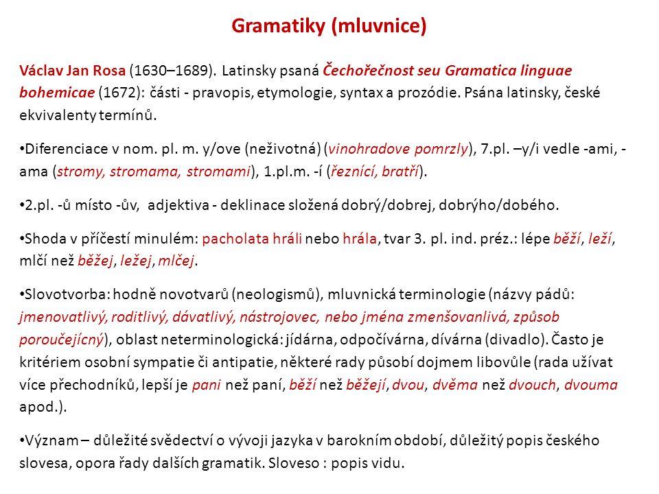 Gramatiky (mluvnice) Václav Jan Rosa (1630–1689). Latinsky psaná Čechořečnost seu Gramatica linguae bohemicae (1672): části - pravopis, etymologie, sy