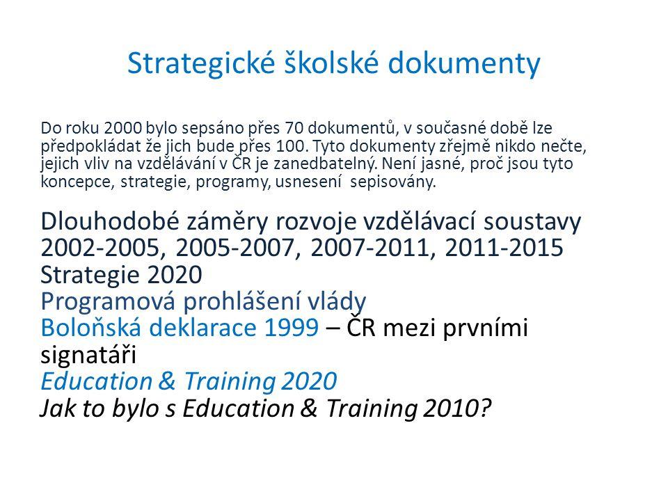 Strategické školské dokumenty Do roku 2000 bylo sepsáno přes 70 dokumentů, v současné době lze předpokládat že jich bude přes 100. Tyto dokumenty zřej