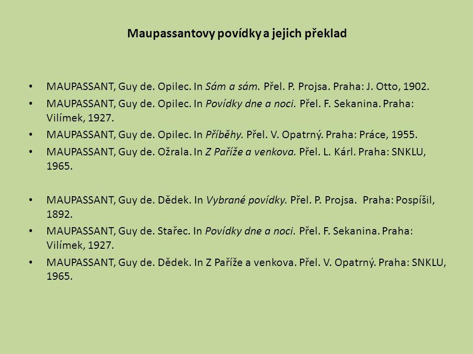 Maupassantovy povídky a jejich překlad MAUPASSANT, Guy de. Opilec. In Sám a sám. Přel. P. Projsa. Praha: J. Otto, 1902. MAUPASSANT, Guy de. Opilec. In