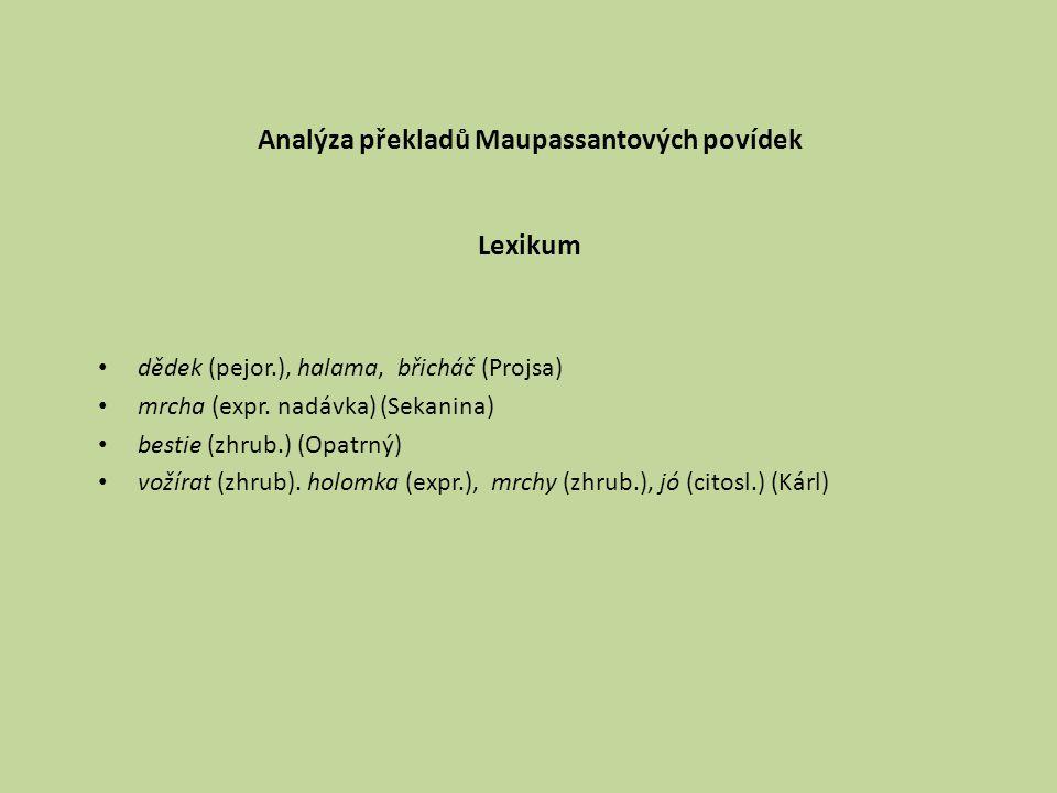 Analýza překladů Maupassantových povídek Lexikum dědek (pejor.), halama, břicháč (Projsa) mrcha (expr. nadávka) (Sekanina) bestie (zhrub.) (Opatrný) v