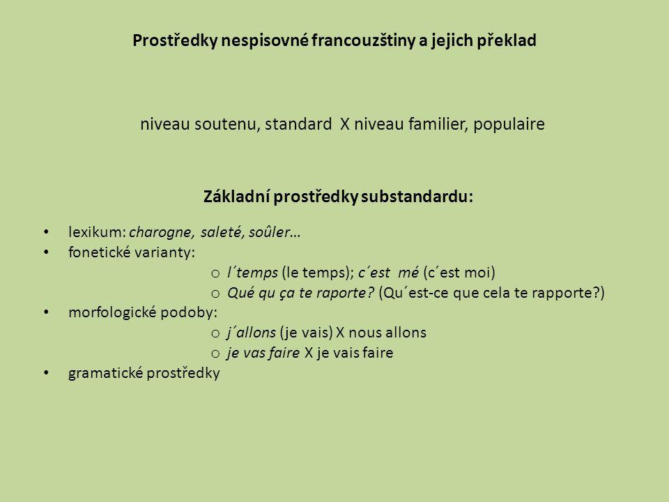 Prostředky nespisovné francouzštiny a jejich překlad lexikum: charogne, saleté, soûler… fonetické varianty: o l´temps (le temps); c´est mé (c´est moi)