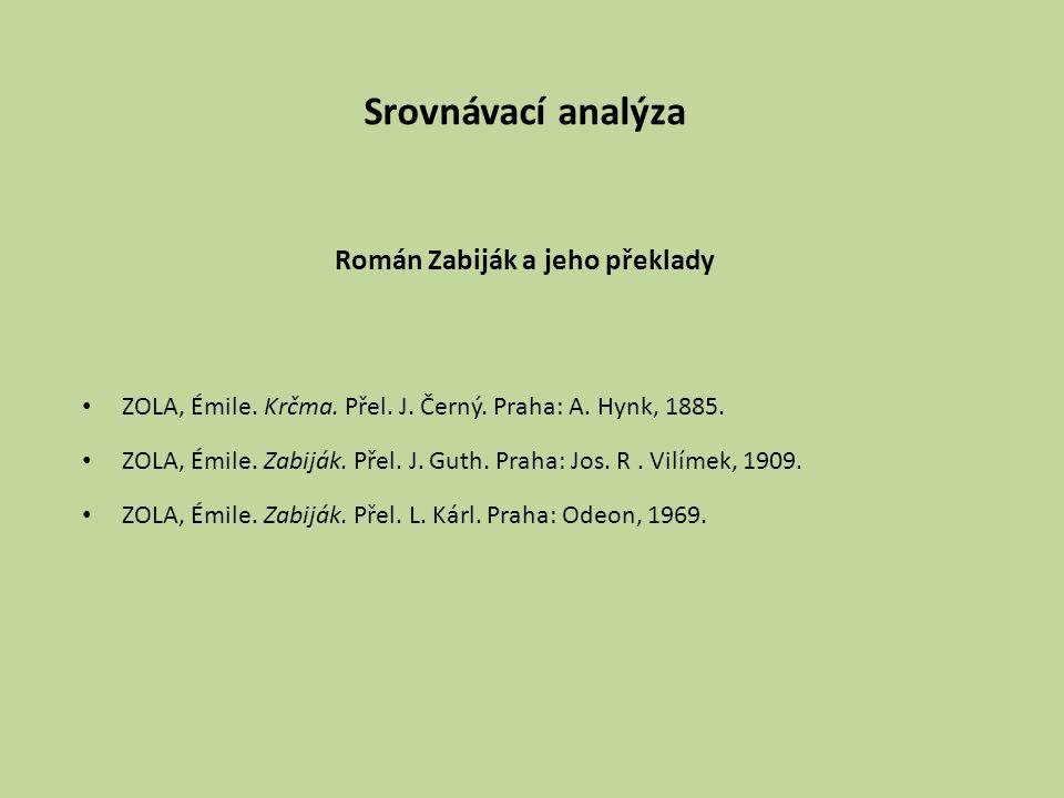 Srovnávací analýza Román Zabiják a jeho překlady ZOLA, Émile. Krčma. Přel. J. Černý. Praha: A. Hynk, 1885. ZOLA, Émile. Zabiják. Přel. J. Guth. Praha: