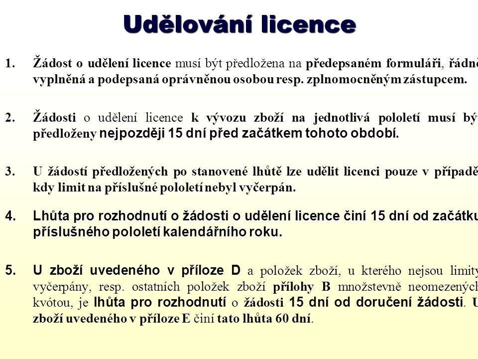 Udělování licencí Licence zní na obchodní jméno žadatele Žadatel odpovídá za dodržování podmínek uvedených v licenci.