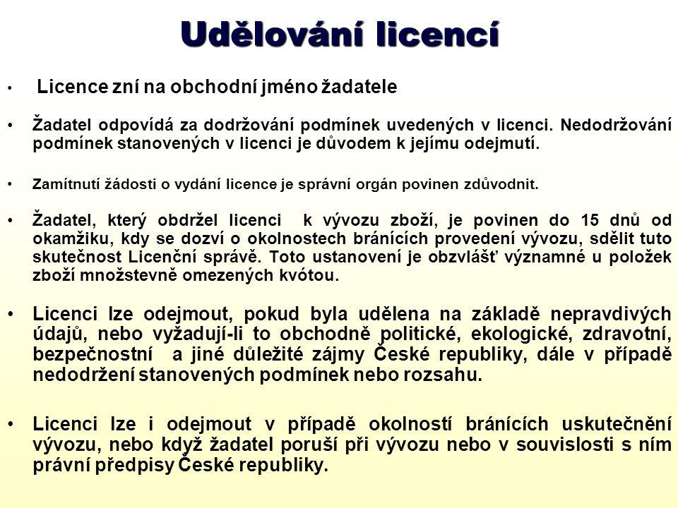 Správní poplatky 1.Ministerstvo průmyslu a obchodu vyměřuje za vydanou licenci správní poplatek v souladu se zákonem č.