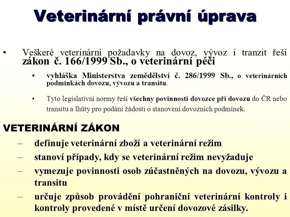 Veterinární náležitosti při importu do ČR K dovozu zboží, které vyžaduje veterinární kontrolu, musí dovozce požádat: STÁTNÍ VETERINÁRNÍ SPRÁVU CR, Praha 1, Těšnov 17 o stanovení veterinárních podmínek dovozu (transitu).