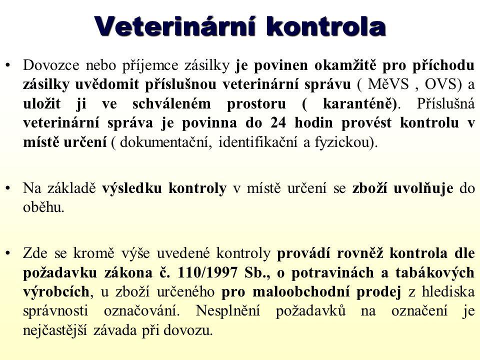 Veterinární náležitosti při exportu Vyvážet lze jen živočišné produkty vyrobené v provozech, které pro tento účel schválila Státní veterinární správa ČR, tzn.