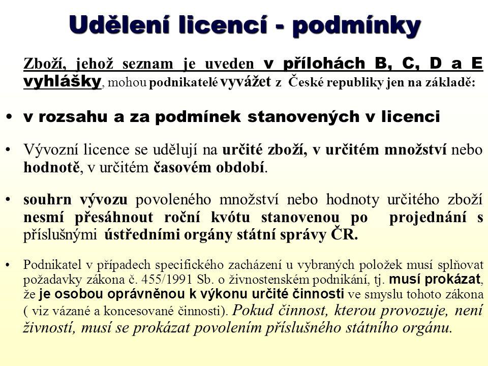 Udělování licence 1.Žádost o udělení licence musí být předložena na předepsaném formuláři, řádně vyplněná a podepsaná oprávněnou osobou resp.