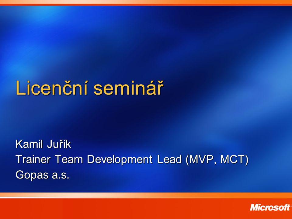 Licenční seminář Kamil Juřík Trainer Team Development Lead (MVP, MCT) Gopas a.s.