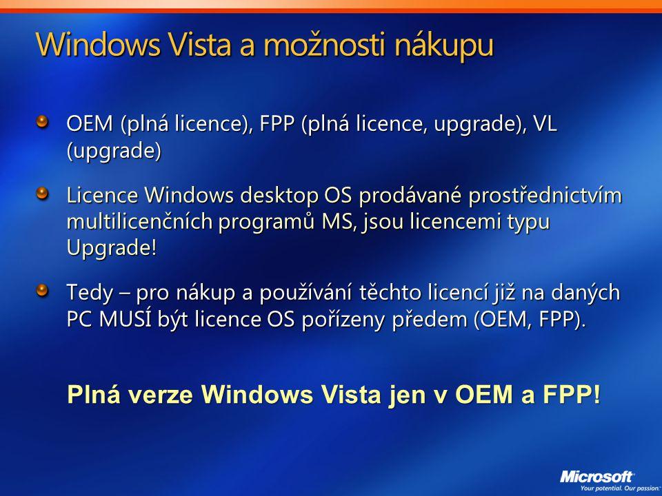 Windows Vista a možnosti nákupu OEM (plná licence), FPP (plná licence, upgrade), VL (upgrade) Licence Windows desktop OS prodávané prostřednictvím multilicenčních programů MS, jsou licencemi typu Upgrade.